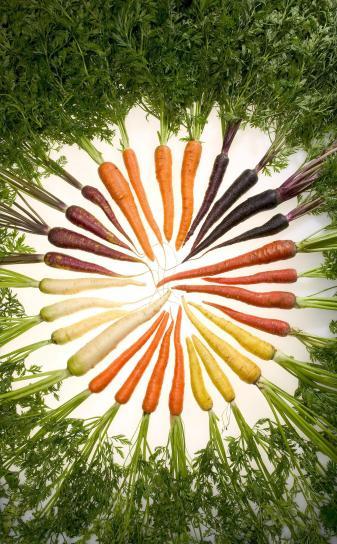 Rainbow, farget, gulrøtter