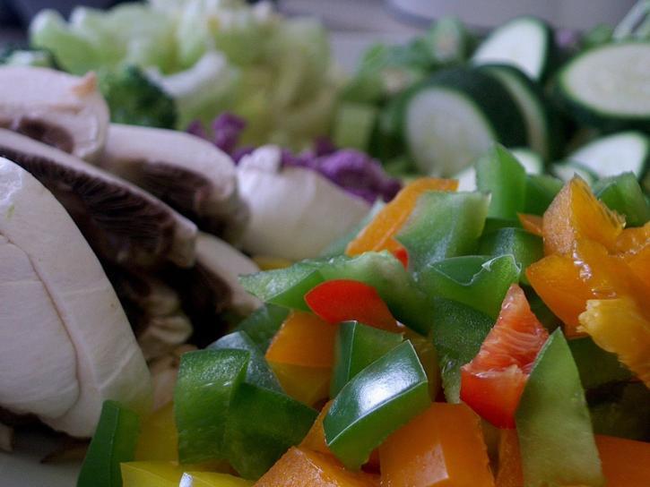 chopped, vegetables