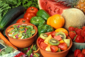 fresh, cut, fruits, vegetables