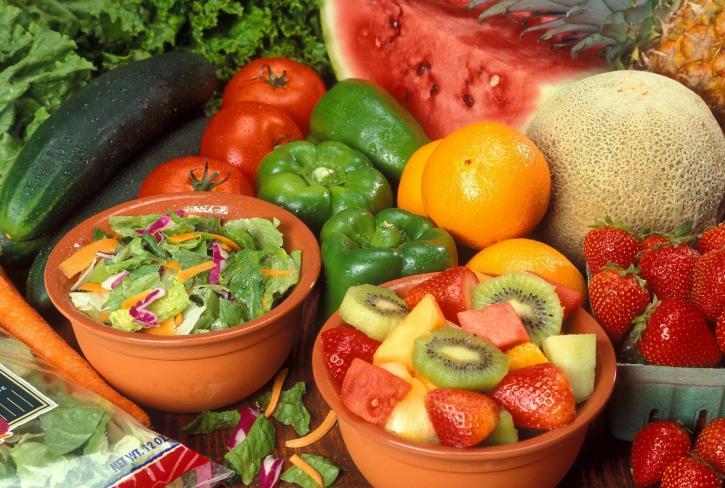proaspete, tăiate, fructe, legume