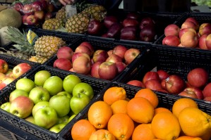 various, fruits, display, six, varieties, apples, pineapples, navel, oranges