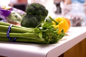 유기적 성장, 머리, 셀러리, 2, 벨 고추, 브로콜리, 야채