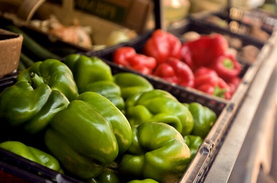 up-close, basket, green, bell peppers