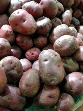 red potatoes, maroon color, display, marketplace