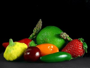 vegetables, asparagus, limes, strawberries, peppers, cheeries