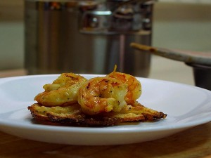 adobo, shrimp, potato, galettes