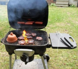 burgers, hotdogs, flaming, grill