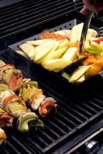 fraîchement, préparé, kebabs, extérieur, inoxydable, acier, gaz, grill