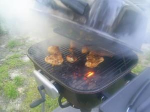 grillé, poulet, américain, tradition