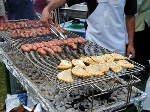grilling, sausages, empanadas, barbecue, charcoal