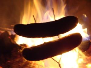 烧烤, 热, 狗, 肉, 腊肠