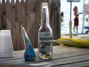 bière, bouteille, pique-nique, table, plage