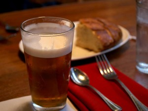 pint, beer, bread