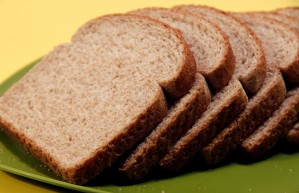 several, slices, wheat, bread, set, green, plate