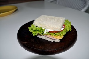 kaas, salade, broodje, groen