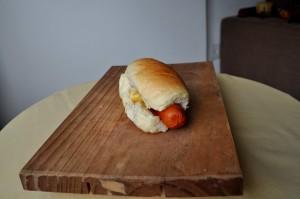 panino, pane, salsicce, legno, piastra