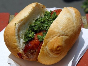 sausages, rolls, chimichurri, sauces