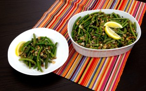 casserole, dish, filled, freshly, cooked, recipe, lemon, walnut, green, beans, based, ingredients
