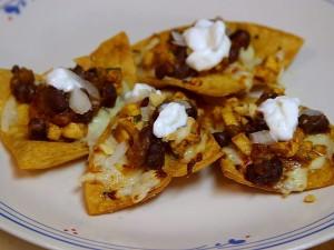 poulet, noir, haricot, nachos, nourriture