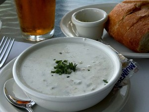 clam, chowder, beer, sour, dough, bread
