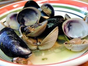 palourdes, les muscles, les crustacés, les aliments