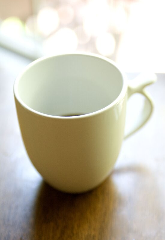 filled, white, ceramic, cup, coffee, set, wooden, table