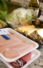 deboned, chicken, breast, filets, pork, cutlets, fresh, sliced, pineapple