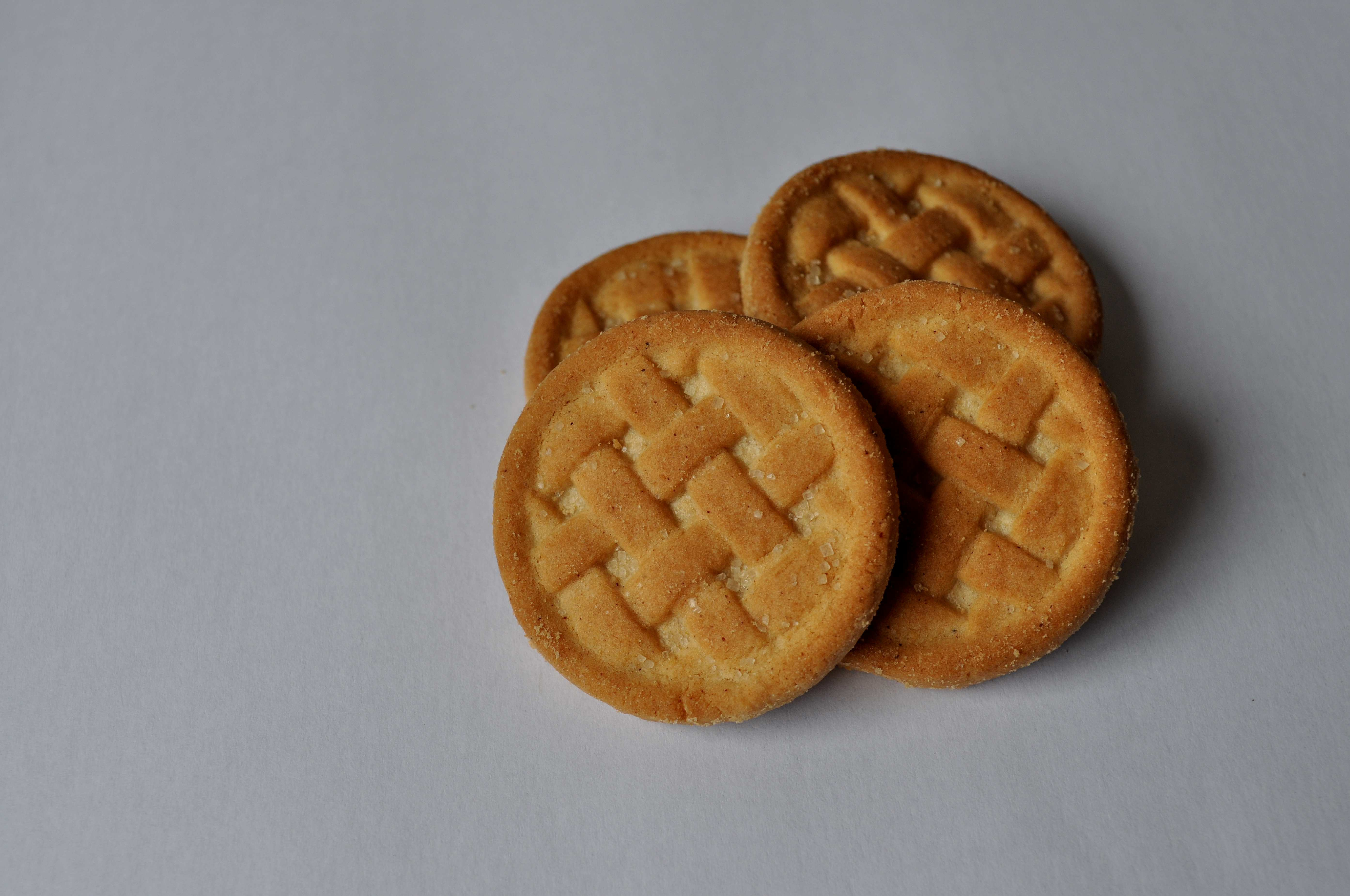 Free photograph; close, homemade, cookies, white, background