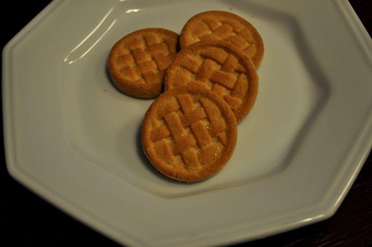 few, brown, homemade, cookies, plate