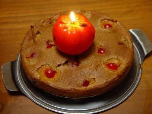 em chamas, tomate, bolo