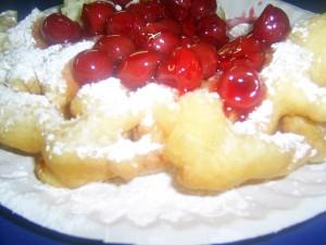 closeup, American, cherry, funnel, cake