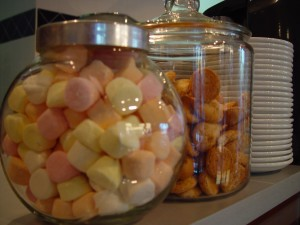 marshmellows, shortbread, cookies, jars