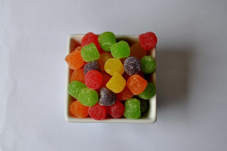 red, green, yellow, jelly, beans