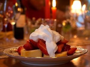 Erdbeere, shortcake, Whipcream