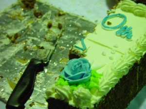 vellykket, party, blå, glasur, rose, kutt, bursdag, kake