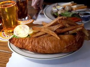 poissons, chips, pinte, cidre