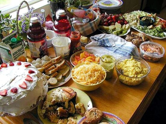 food, cheese, cakes, fruit, juices