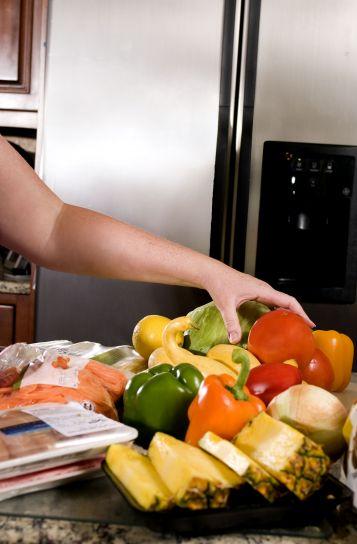 fyra, paprika, röd, gul, grön, orange, väska, skivad, morötter, färsk, skivad ananas