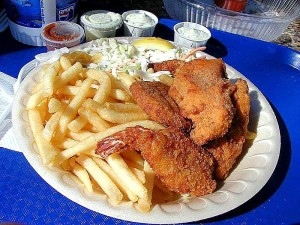 french, fries, shrimp, crab, cakes, fish, tartar