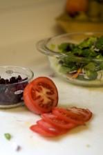 verre, salade, bol, fond, laitue, carottes, pourpre, l'oignon, le brocoli, les canneberges