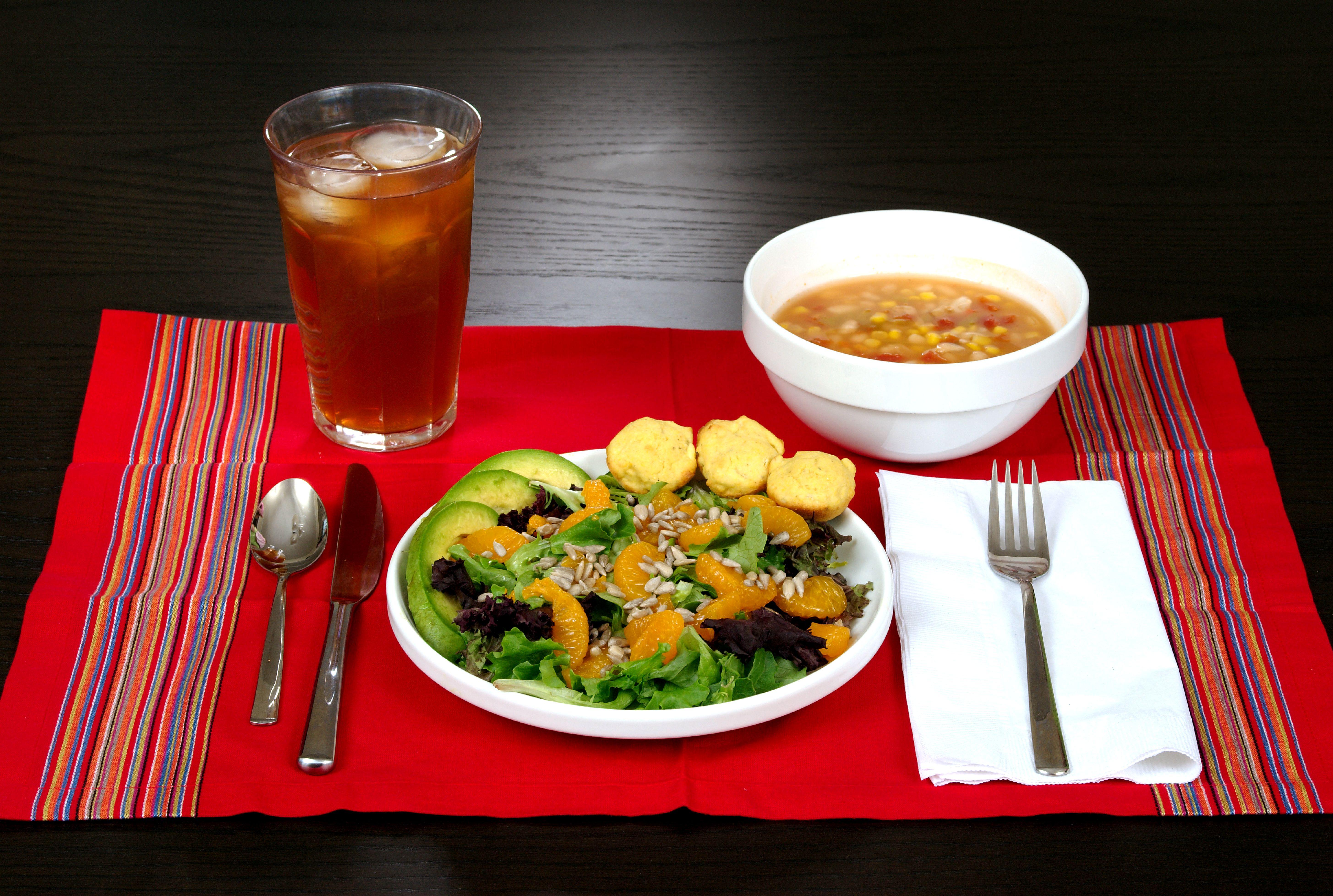 healthy meal nutrient ingredients corn soup bean dense packed menu food included drink domain