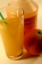 bright yellow, orange, juice, green, straw