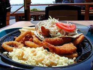 ocean, bays, food, fried, clamari, fish, rice, plate