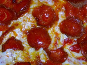 closeup, pepperoni, pizzas