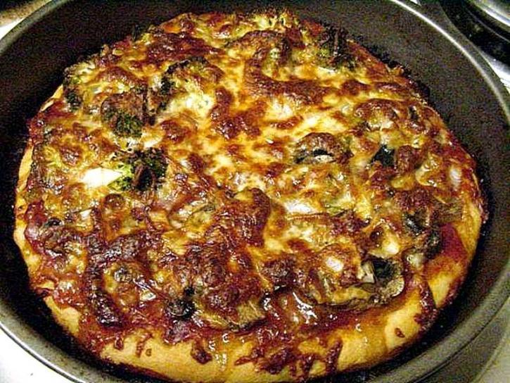 Pizza, jedzenie, gotowanie, brokuły, pieczarki, ser