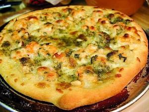 pizzas, food, cheeses, shrimp, pesto