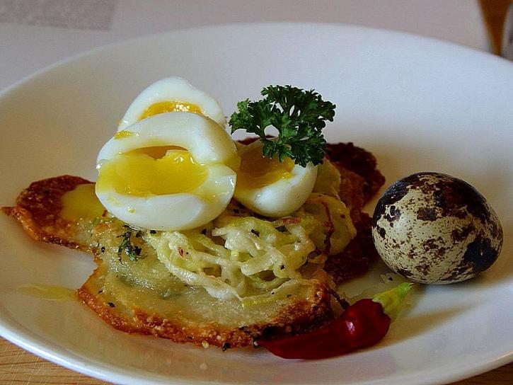 potato, galettes, quail, eggs