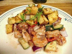 crevettes, salade, ail, croûtons