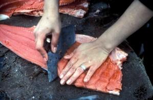обработка, сьомга, риба, месо