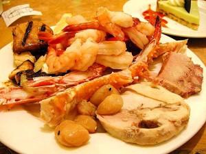 海鲜, 螃蟹, 腿, 虾, 食品